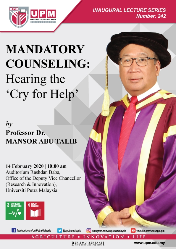 Inaugural Lecture Series 242 - MANDATORY COUNSELING: Hearing the 'Cry for Help'